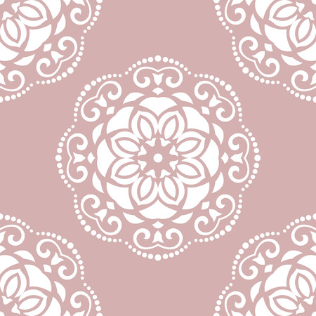 oriental vector: Oriental vector classic pattern. Seamless abstract pink and white background
