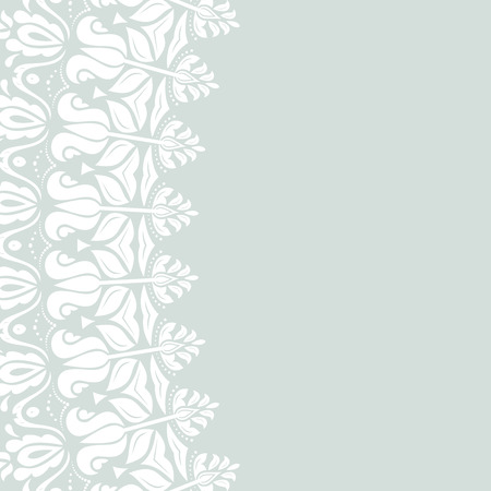 frilly: Oriental vector abstract frame with white arabesques and floral elements. Fine greeting card Illustration
