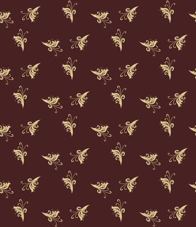 decorative wallpaper: Floral vector ornament. Seamless abstract classic fine brown and golden pattern