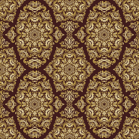 gold leafs: Oriental vector classic pattern. Seamless abstract background. Brown and golden ornament