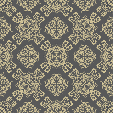 oriental vector: Oriental vector classic pattern. Seamless abstract gray and golden background