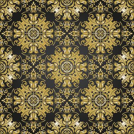 gold leafs: Oriental vector classic pattern. Seamless abstract black and golden background