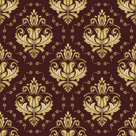 seamless damask: Damask seamless colored ornament. Fine  traditional oriental golden pattern Stock Photo