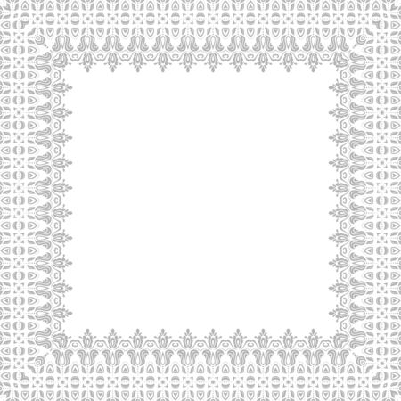 vintage ornament: Classic  frame with arabesques and oriental silver elements. Abstract ornament