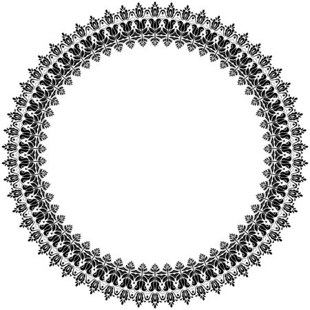 frilly: Oriental  abstract round ornament with arabesques and floral elements. Black and white colors