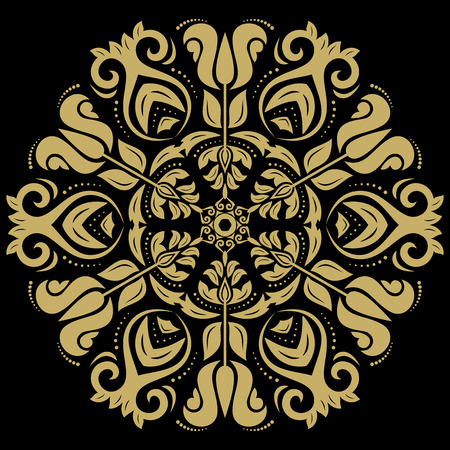 colord: Oriental vector pattern with golden arabesques and floral elements. Traditional classic ornament