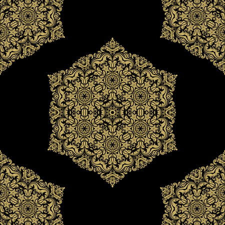 oriental vector: Oriental vector classic golden pattern. Seamless abstract ornament Illustration