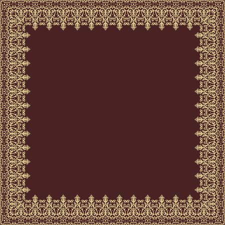 frilly: Oriental vector abstract square frame with golden arabesques and floral elements. Fine greeting card