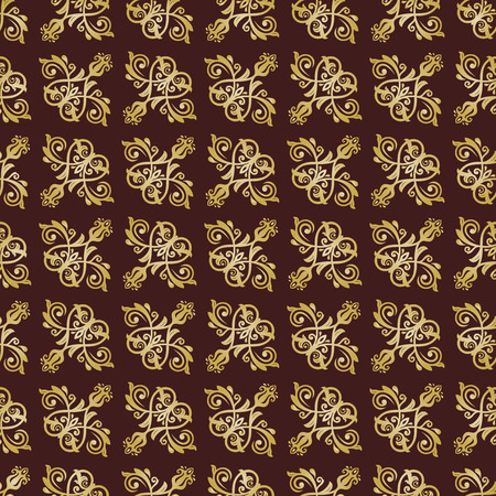 oriental vector: Oriental vector classic colored pattern with golden elements. Seamless abstract background
