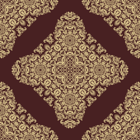 gold leafs: Oriental vector classic pattern. Seamless abstract brown and golden background