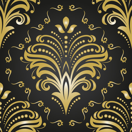 oriental vector: Oriental vector classic pattern. Seamless abstract golden background