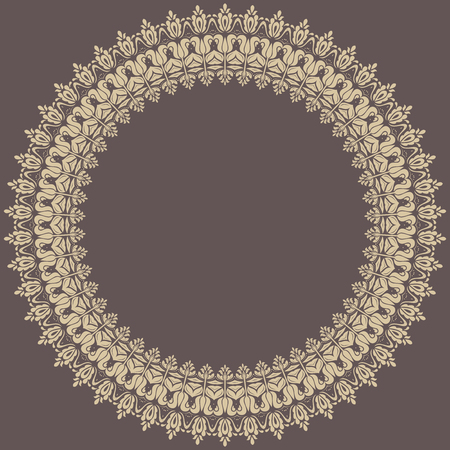 vintage ornament: Classic vector round frame with golden arabesques and orient elements. Abstract fine ornament