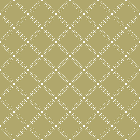golde: Geometric repeating vector colored ornament with golden elements and diagonal dots. Seamless abstract modern pattern