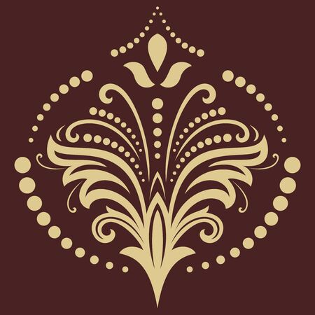 fine: Floral  oriental pattern with golden elements. Abstract fine ornament