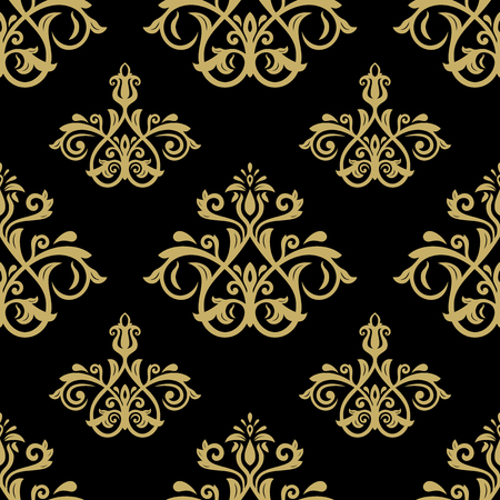 oriental vector: Oriental vector classic black and golden pattern. Seamless abstract background