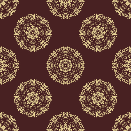 oriental vector: Oriental vector classic pattern. Seamless abstract brown and golden background