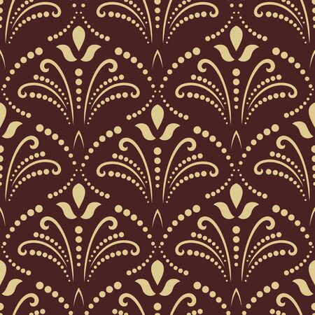 fine: Oriental  fine classic pattern. Seamless abstract brown and golden background