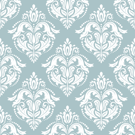 fine: Oriental  fine classic pattern. Seamless abstract blue and white background Stock Photo