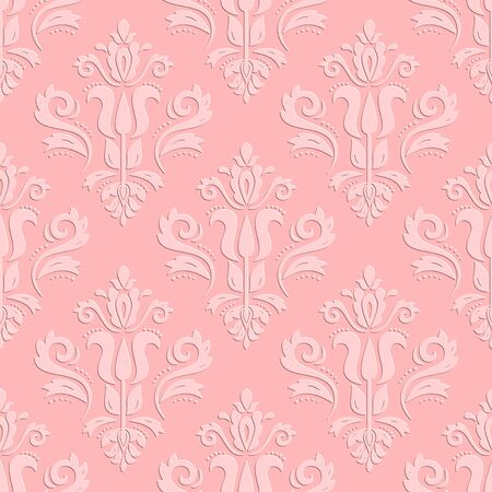 oriental vector: Seamless oriental pink ornament. Fine vector traditional oriental pattern with 3D elements and shadows Illustration