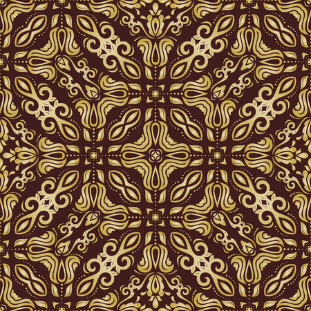oriental vector: Oriental vector classic brown and golden pattern. Seamless abstract background Illustration