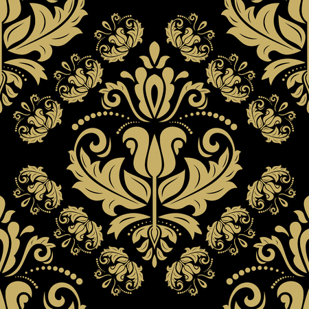 colord: Oriental vector classic pattern. Seamless abstract black and golden background