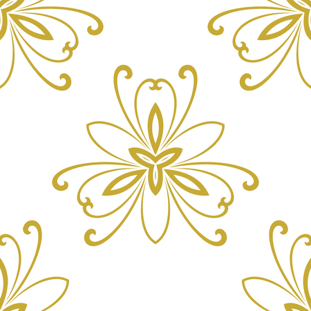 repeats: Floral vector ornament. Seamless abstract classic fine golden pattern Illustration