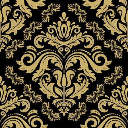 retro floral: Damask seamless ornament. Traditional vector pattern. Classic oriental black and golden background Illustration