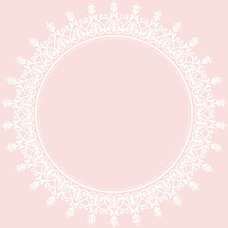 white greeting: Oriental vector abstract frame with arabesques and floral elements. Fine pink and white greeting card Illustration