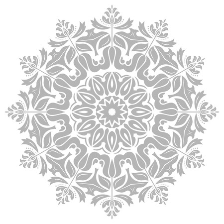 Oriental light pattern with arabesques and floral silver elements. Traditional classic ornament