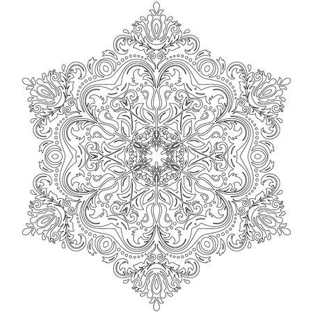 laced: Damask vector floral pattern with oriental elements. Abstract traditional ornament with black outline