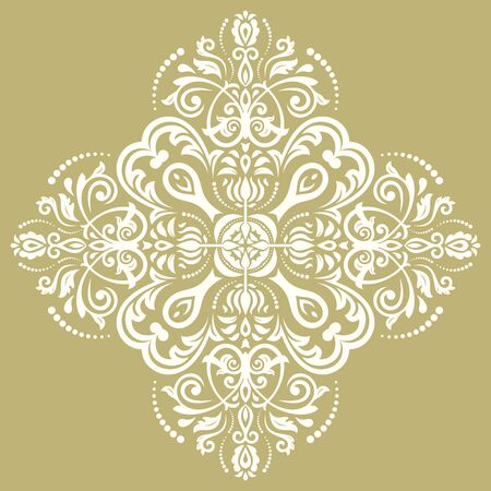 laced: Damask vector floral pattern with oriental elements. Abstract traditional golden and white ornament