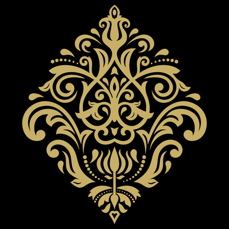black damask: Oriental vector golden pattern with arabesques and floral elements. Traditional classic ornament Illustration