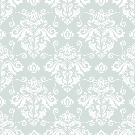 antique wallpaper: Damask seamless ornament. Traditional vector pattern. Classic oriental light blue and white background