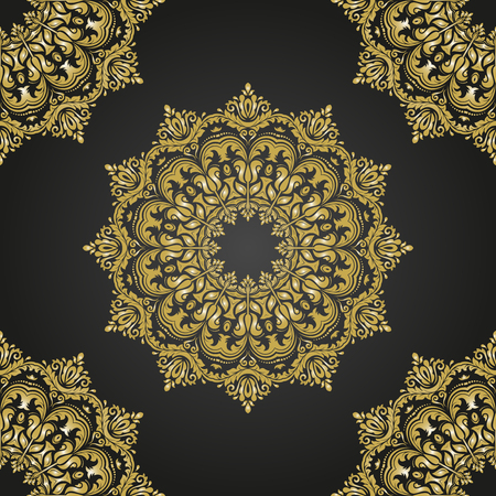 gold leafs: Oriental vector classic black and golden pattern. Seamless abstract background
