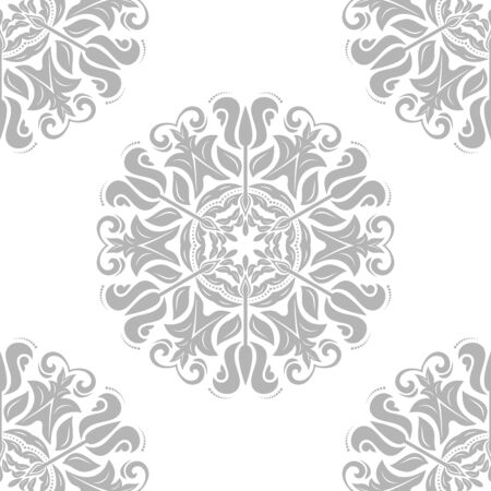 Floral  oriental pattern. Abstract fine gray ornament