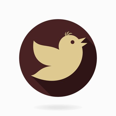 followers: Fine  brown icon with golden flying bird in circle. Flat design with long shadow