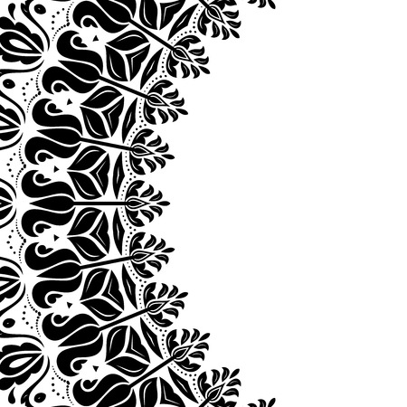 frilly: Oriental  abstract frame with arabesques and floral elements. Fine greeting card. Black and white colors