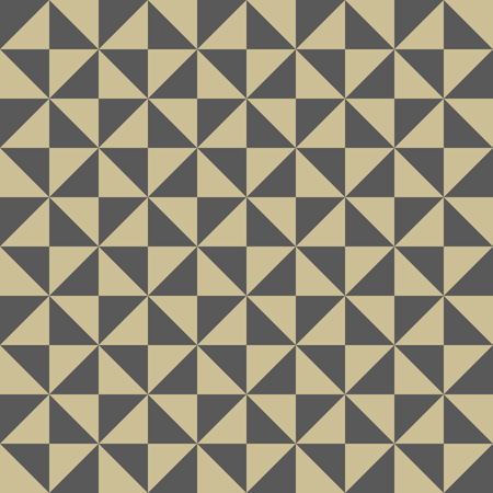 Geometric vector pattern with gray and golden triangles. Seamless abstract background Stock Illustratie