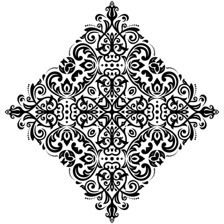 oriental vector: Oriental vector pattern with arabesques and floral elements. Traditional classic black and white ornament