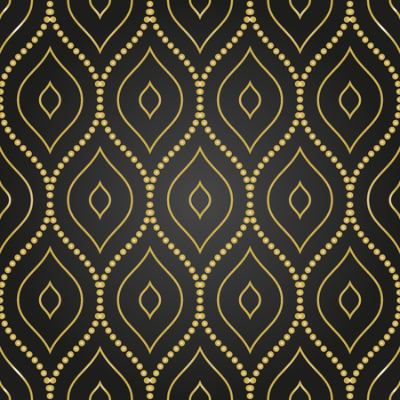abstract art background: Seamless vector ornament. Modern stylish geometric black and golden pattern with repeating elements