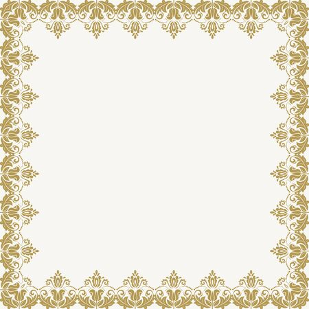 orient: Classic  golden frame with arabesques and orient elements. Abstract fine ornament Stock Photo