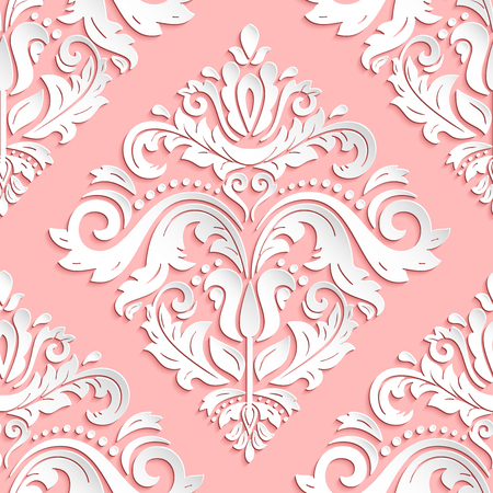 Seamless oriental pink and white ornament. Fine  traditional oriental pattern with 3D elements, shadows and highlights