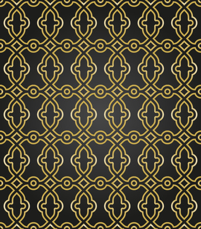 yeloow: Geometric vector ornament with fine golden elements. Seamless pattern for wallpapers and backgrounds