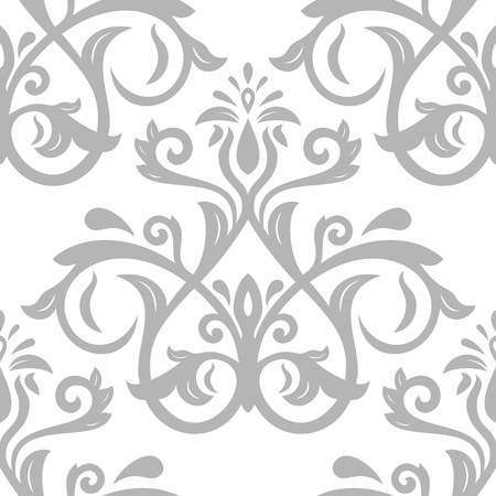 oriental vector: Damask seamless ornament. Traditional vector silver pattern. Classic oriental background Illustration