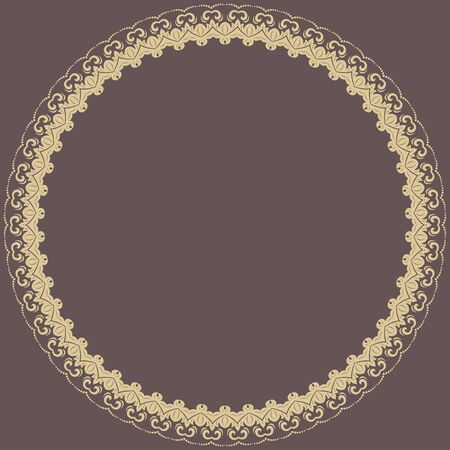 frilly: Oriental vector abstract round frame with golden arabesques. Fine colored ornament