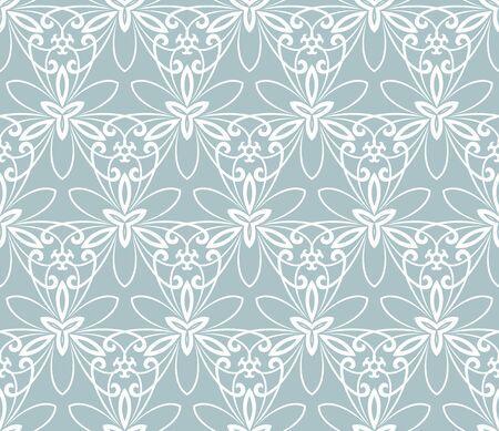 lijntekening: Bloemen ornament. Naadloze abstracte klassieke blauw en wit patroon