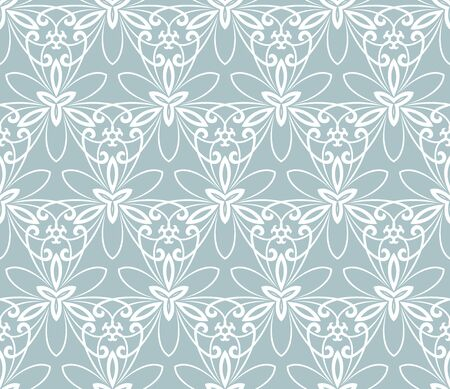leaf line: Floral  ornament. Seamless abstract classic blue and white pattern