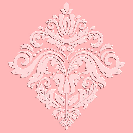 3d paper art: Oriental ornament. Fine  traditional pink pattern with volume 3D elements and highlights Stock Photo