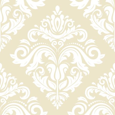 Oriental  fine classic bright pattern. Seamless abstract  yellow and white background