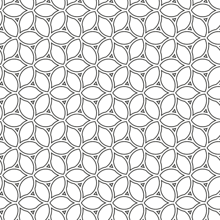 fine: Floral vector ornament. Seamless abstract fine black and white pattern